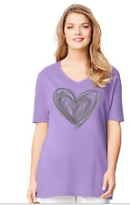 NEW Just My Size graphic V neck tee shirt Lavender  & Large Heart  2X