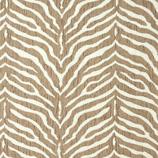 Zebra Natural Beige and White Animal Print Chenille Upholstery Fabric