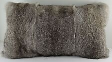 Real Natural Grey Long Hair Rabbit Fur  Pillow New (made in usa) gray cushion