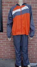 NIKE Athletic Women's Track Jog Suit Jacket + Pants Size L (12-14) Gray/Orange