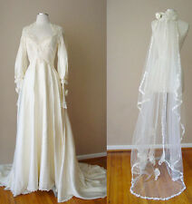VINTAGE ALFRED ANGELO LACE SEQUIN PEARL IVORY WEDDING GOWN DRESS + VEIL SET