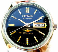 Vintage Japan Citizen 7 Automatic Gorgeous Black Designer Day Date Mens Watch.