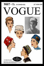 VOGUE #9007 Fabric Sewing Pattern Classic CLOCHE Hat Cap John Frederics Designer