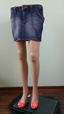 ENERGIE Denim Ladies Party Sexy Jeans Indigo Short Mini Skirt sz M/L W29 AW62