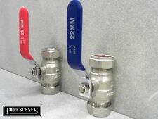 Pair of 22mm Lever Valves Full Bore Hot & Cold Ball Type Shut Off Universal