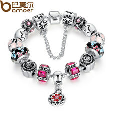 Luxury Ladies Jewelry DIY European Charm Bracelet With Red Murano Glass CZ Beads