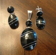 Black Onyx  925 Sterling Silver Earring and Pendants Sets  Taxco