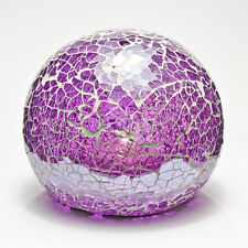 Purple Mosaic Crackle Glass Sphere Ball LED Lamp Flickering Night Light