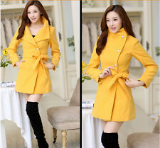 Women Ladies Warm Long Winter Coat Wool Trench Parka Jacket Outerwear Overcoats