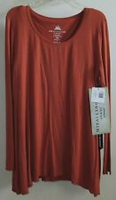 MIRACLEBODY by Miraclesuit Trapeze Rayon Pullover Top Russet Orange Small