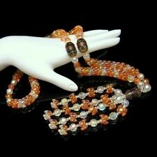 Vintage Necklace Orange Acrylic Faux Crystal Chunky Beads Tassels Statement Long