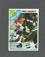 Fred Barrett signed North Stars 1978-79 Topps hockey card