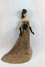 Fashion Royalty leopard-print Dress Skirt Dress/Gown+Gloves FOR Barbie Doll