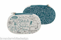 Handy Lovely White and Blue A Stitch in Time Travel /  Mini Zipped Sewing Kit
