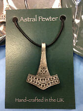 PENDANT ASTRAL PEWTER THORS HAMMER ANVIL NECKLACE HAND CRAFTED UK FINISH NEW