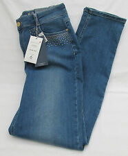 LADIES MARKS AND SPENCER PER UNA MED BLUE 5 POCKET JEANS WITH GOLD STUD SIZE 14