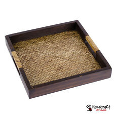 """11x11"""" Wicker Serving Tray Square Beautiful Craft Bamboo Wooden Tea Tray Asian"""