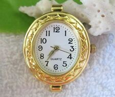 1PCS  Gold Plated Quartz Oval Watch Face For Beading E7312