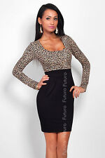 Elegant Women's Square Neck Dress Long Sleeve Bodycon Tunic Sizes 8-18 8456