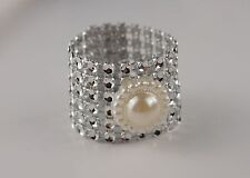 USA Seller - 50pc Bling Napkin Ring with Ivory Pearl Decor