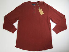 shirt mens  Roundtree & Yorke Casuals  Madder Brown Henley Knit Waffle Large