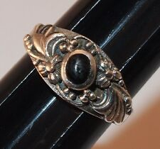 STERLING SILVER 925 RING with Black Oval Stone and Floral Setting Size 5 1/4