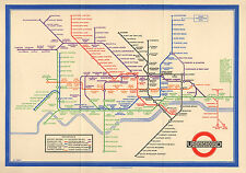 Large Framed Print - Vintage 1933 London Underground Tube Map (Picture Poster)