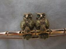 9K Rose and Yellow Gold, Emerald Eyed Owl Brooch Antique c.1890. TBJ01158