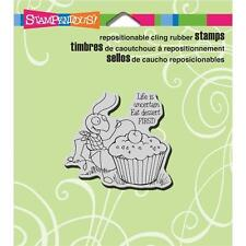 New STAMPENDOUS RUBBER STAMP cling cupcake ant eat dessert first Free USA ship