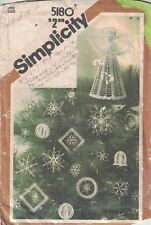 Simplicity 5180 Crocheted Christmas Ornaments & Tree Top Vintage Pattern