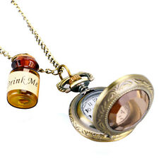 New Hot Drink Me Bottle Pocket Watch Alice In Wonderland Necklace Vintage Quartz