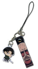 **License** Attack on Titan SD Levi Metal Phone Charm Keychain #17213