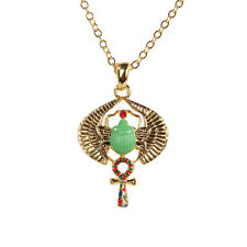 Egyptian Egypt Green Winged Scarab Amulet Necklace Pendant. Fashion Jewelry