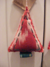 NWT Crate & Barrel Red White & Green Ikat tie dye Christmas Tree Shaped Ornament