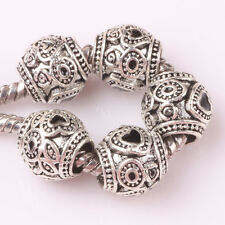 5pcs Tibetan silver love lampwork spacer beads fit Charm European Bracelet AB139