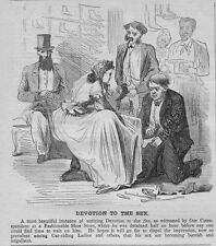 SALESMEN ATTENDING TO LADY IN FASHIONABLE SHOE-STORE, DEVOTION TO THE SEX, LADY