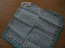 RARE VINTAGE COTTON LINEN? HANDKERCHIEF HOME MADE LACE EDGE NINERIN DESIGN