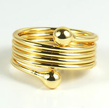 Women's 24 Carat Gold plated Spiral Ring Jewellery UK Size R