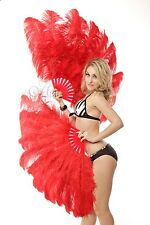 "Red  Burlesque fan 2 layers Ostrich Feathers 54"" dancing fan with gift box"