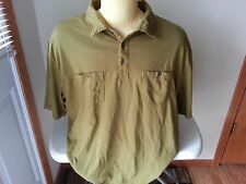 """Horny Toad olive green short sleeve polo - mens XL - armpit to armpit = 24"""""""