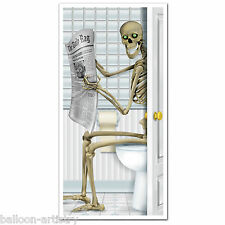 5ft Haunted Halloween Sinister SKELETON Toilet Door Poster Cover Decoration