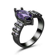 Amethyst Wedding Rings CZ Pave 10Kt black Gold Filled Women  Size 6.5 Valentine