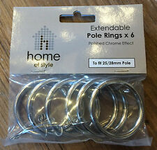 NEW 6 x Polished Chrome Effect Metal Curtain Rings For 25mm-28mm Poles