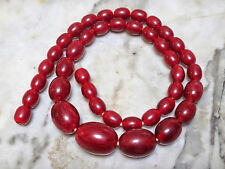 SUPERB ANTIQUE VINTAGE RED CHERRY AMBER BAKELITE NECKLACE 27g