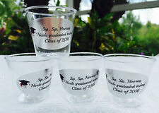 50 PERSONALIZED 1oz. PLASTIC SHOT CUPS for GRADUATION PARTY FAVORS or supply!