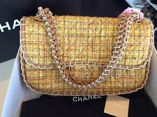 Chanel New Jumbo Tweed Flaps Handbag Purse