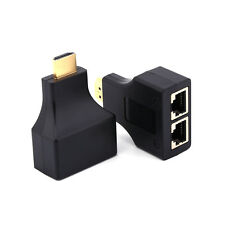 HDMI 1080P To Dual Port RJ45 Network Cable Extender Over By Cat 5e/6 3D Full HD