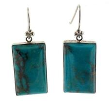 Blue Turquoise Sterling Silver Earrings Rectangle Shape