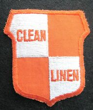 CLEAN LINEN EMBROIDERED SEW ON ONLY PATCH VINTAGE LAUNDRY BUSINESS ADVERISING