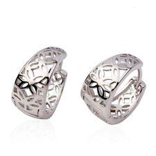 NEW 18k White Gold Filled Flower Earrings 15MM Women Hoop GF Fashion Jewelry